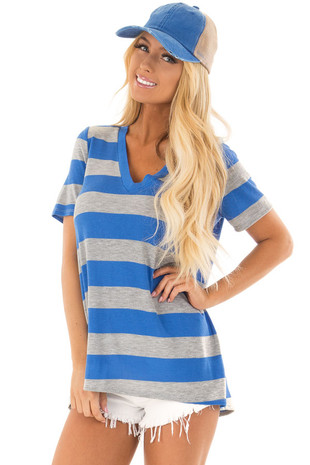 Royal Blue and Heather Grey Striped V Neck Short Sleeve Top front closeup