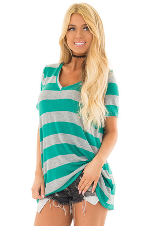 Emerald and Heather Grey Striped V Neck Short Sleeve Top front closeup