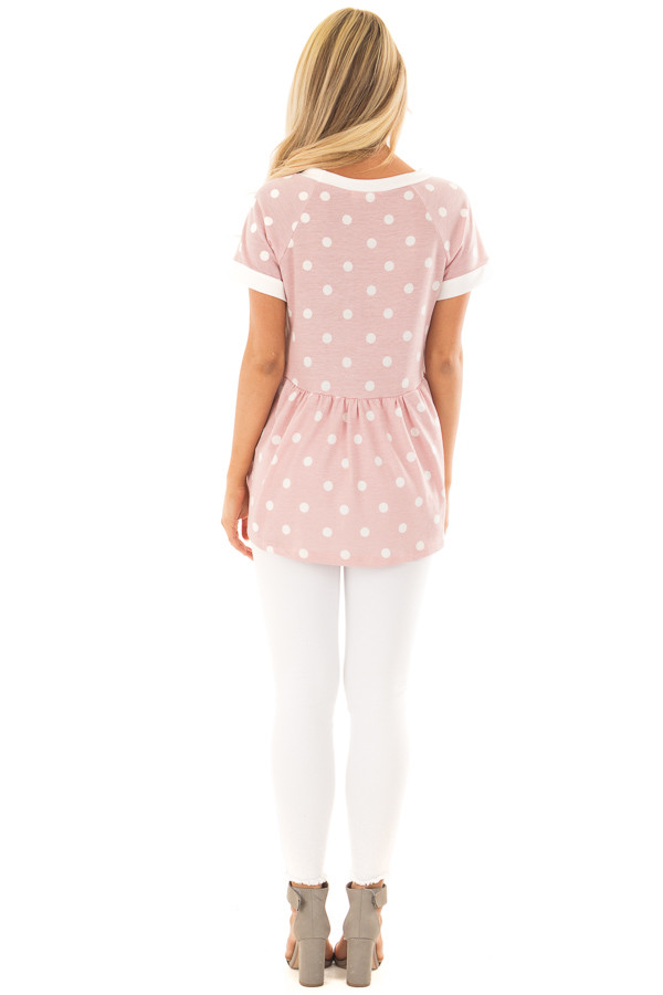 Rose Pink and Cream Polka Dot Short Sleeve Top back full body