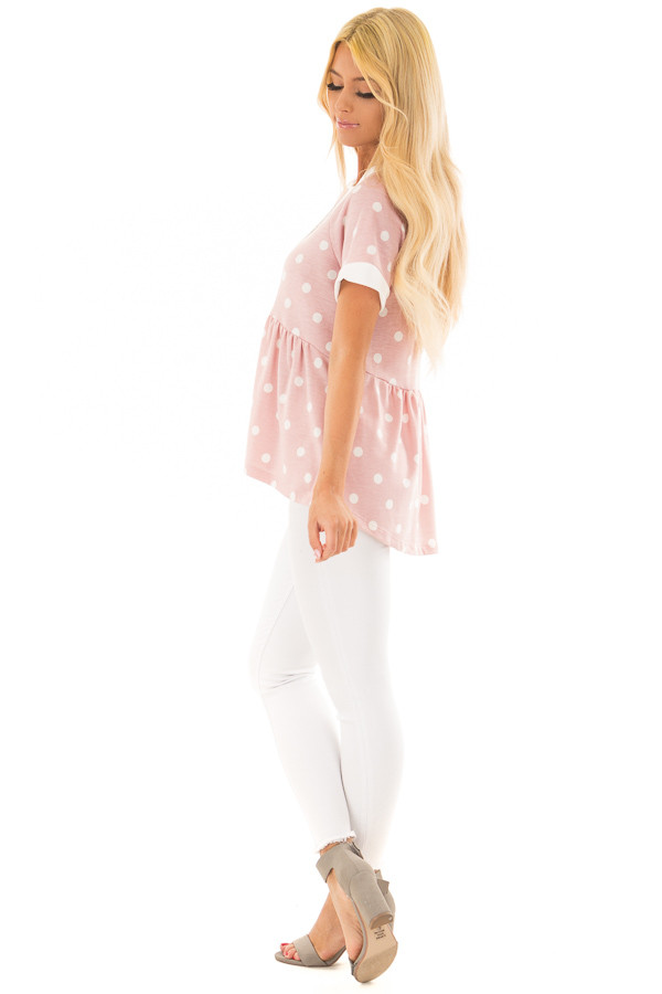Rose Pink and Cream Polka Dot Short Sleeve Top side full body