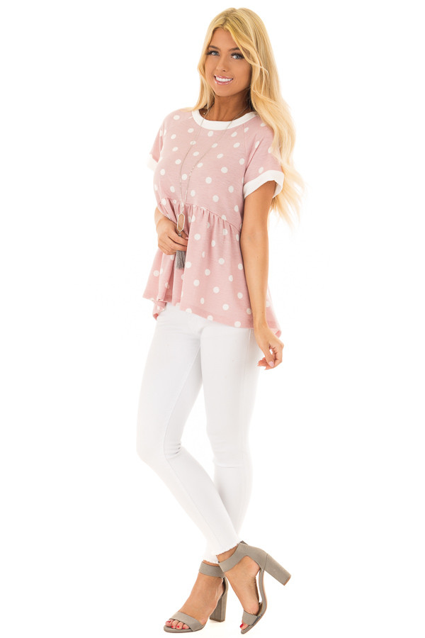 Rose Pink and Cream Polka Dot Short Sleeve Top front full body