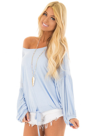Sky Blue Loose Dolman Top with Drawcord Tie Bottom front closeup