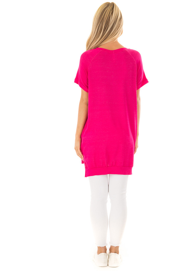 Hot Pink Crew Neck Tunic with Hidden Pockets back full body