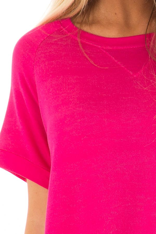Hot Pink Crew Neck Tunic with Hidden Pockets front detail