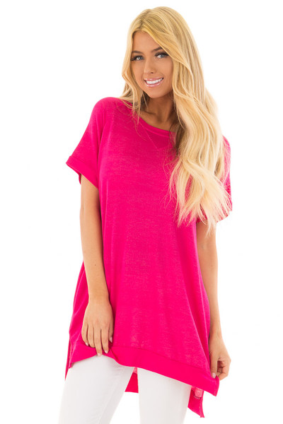 Hot Pink Crew Neck Tunic with Hidden Pockets front closeup