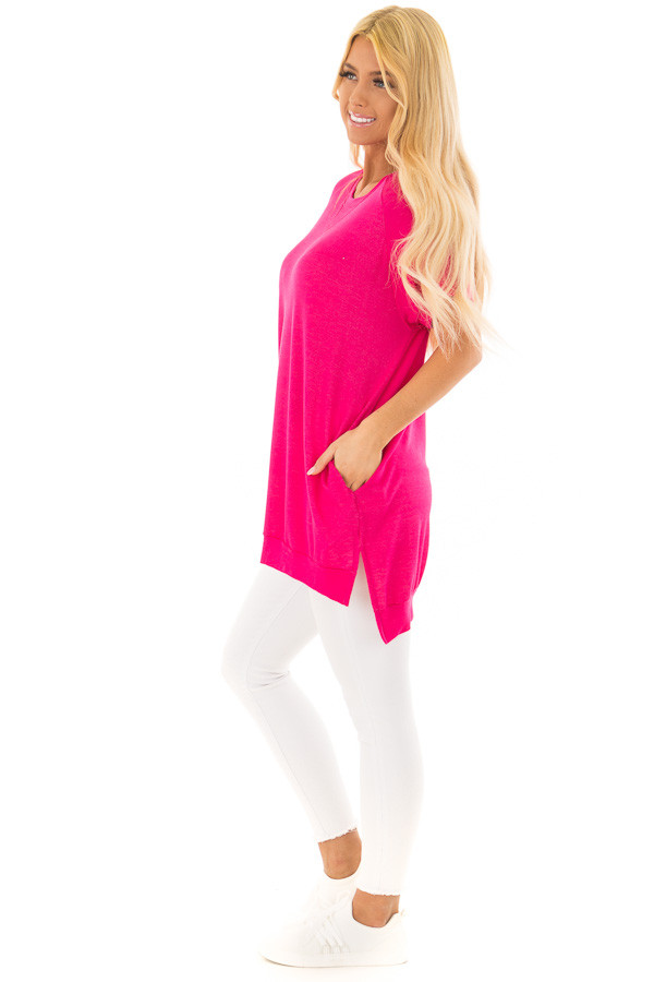 Hot Pink Crew Neck Tunic with Hidden Pockets side full body