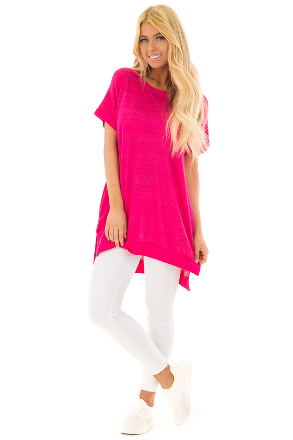 Hot Pink Crew Neck Tunic with Hidden Pockets front full body