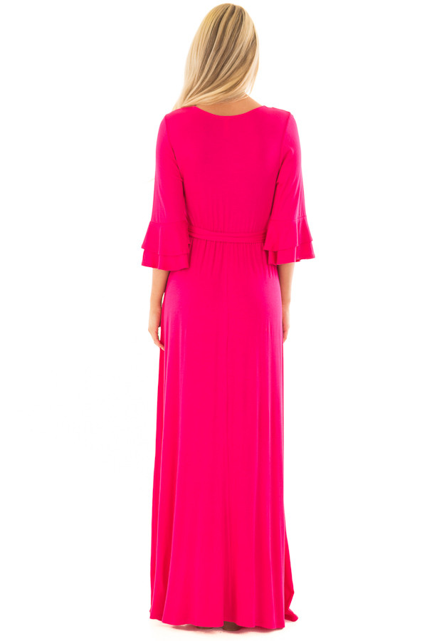 Hot Pink Maxi Dress with Sash Belt and Ruffle Bell Sleeves back full body