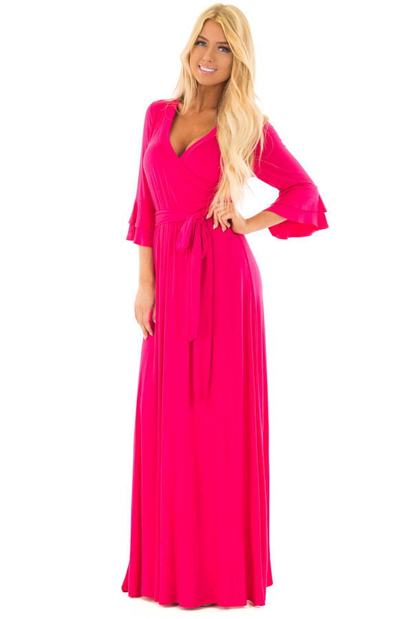 Hot Pink Maxi Dress with Sash Belt and Ruffle Bell Sleeves front full body