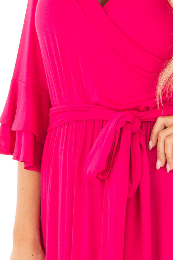 Hot Pink Maxi Dress with Sash Belt and Ruffle Bell Sleeves front detail
