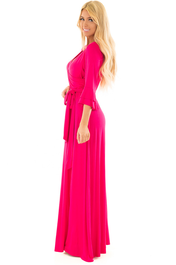 Hot Pink Maxi Dress with Sash Belt and Ruffle Bell Sleeves side full body