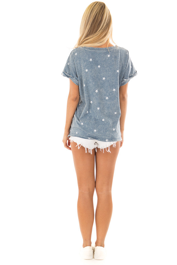 Denim Mineral Wash Short Sleeve Top with Star Print back full body