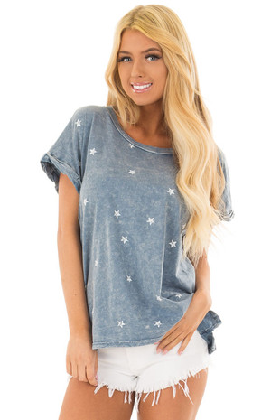 Denim Mineral Wash Short Sleeve Top with Star Print front closeup