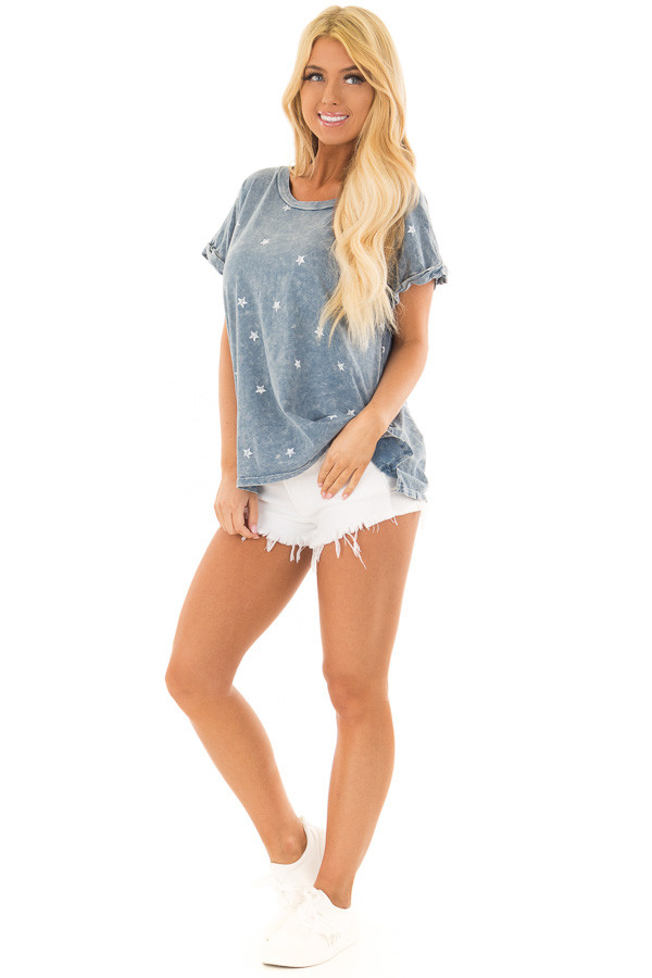Denim Mineral Wash Short Sleeve Top with Star Print front full body