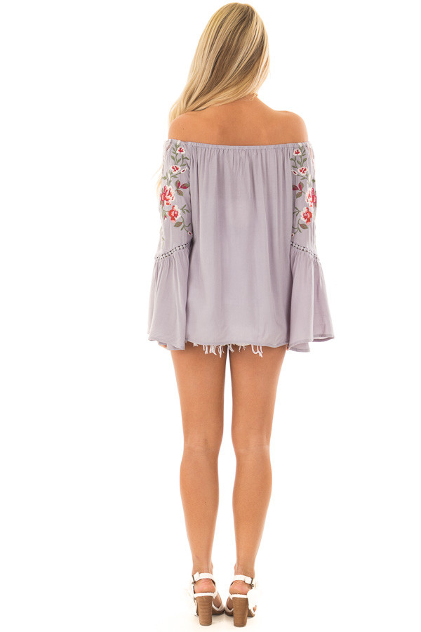 Cool Grey Embroidered Off the Shoulder Top back full body