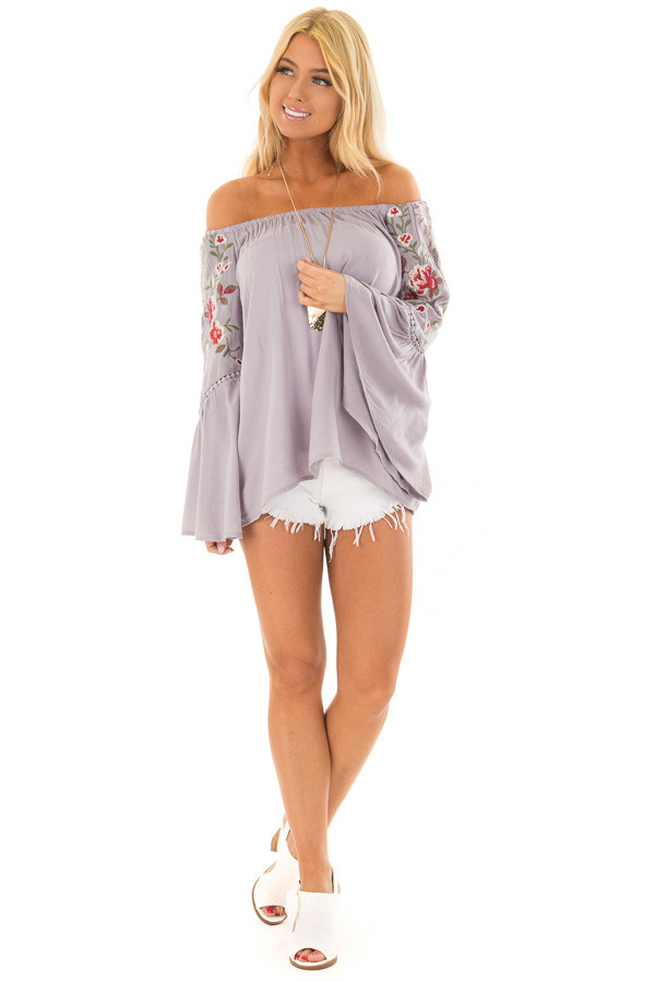 Cool Grey Embroidered Off the Shoulder Top front full body