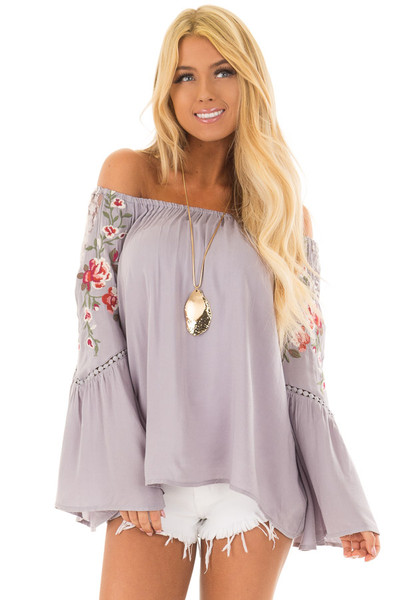 Cool Grey Embroidered Off the Shoulder Top front closeup