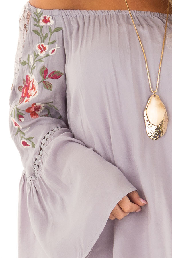 Cool Grey Embroidered Off the Shoulder Top front detail