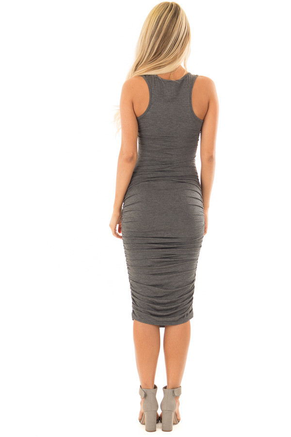 Charcoal Midi Dress with Side Ruching back full body
