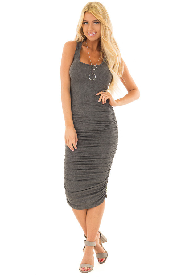 Charcoal Midi Dress with Side Ruching front full body
