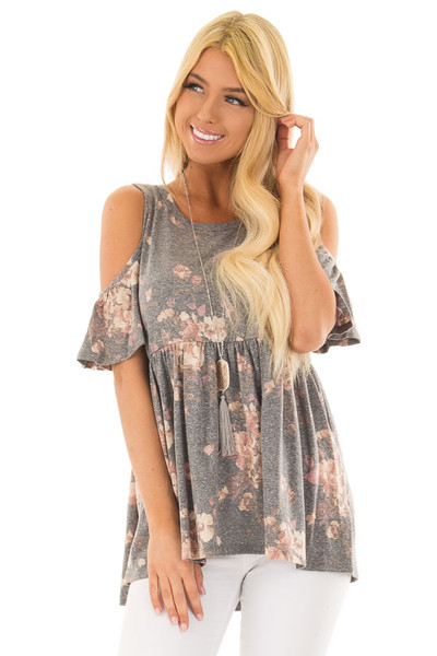 Charcoal Floral Print Babydoll Top with Cold Shoulders front closeup