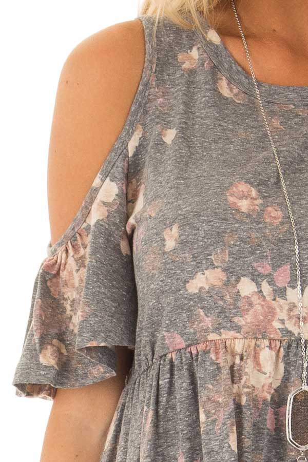 Charcoal Floral Print Babydoll Top with Cold Shoulders front detail