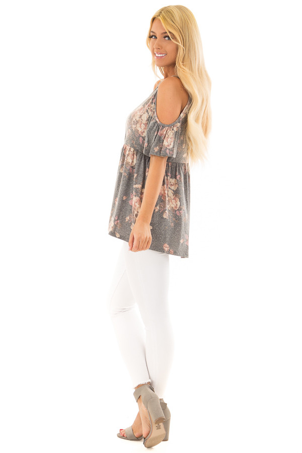 Charcoal Floral Print Babydoll Top with Cold Shoulders side full body