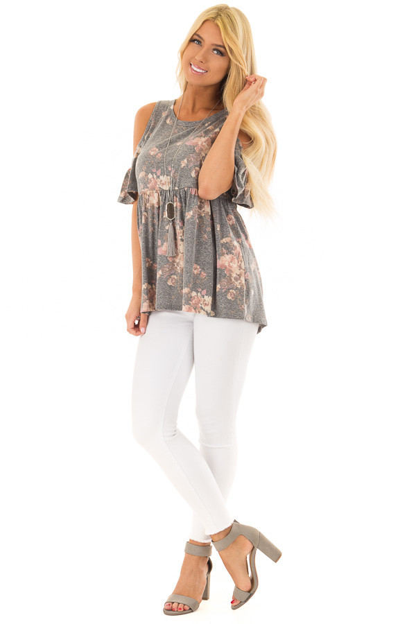 Charcoal Floral Print Babydoll Top with Cold Shoulders front full body