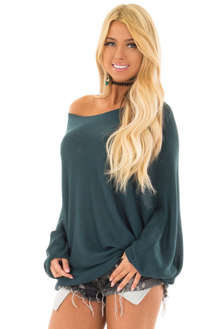 Teal Lightweight Sweater with Dolman Sleeves front closeup
