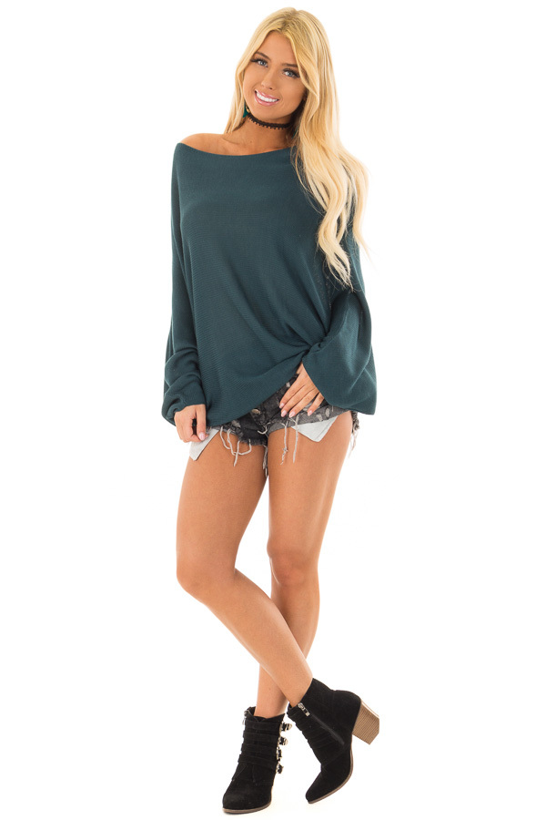 Teal Lightweight Sweater with Dolman Sleeves front full body