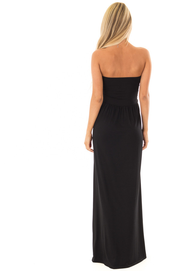 Black Strapless Maxi Dress with Pockets back full body
