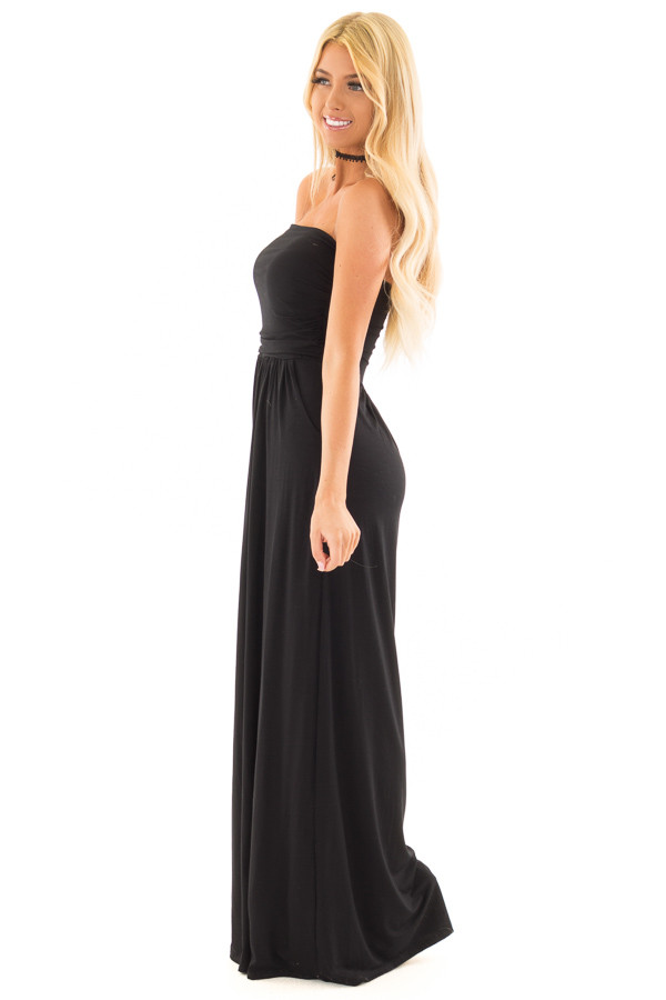 Black Strapless Maxi Dress with Pockets side full body