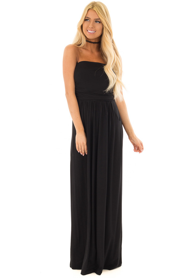 Black Strapless Maxi Dress with Pockets front full body