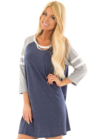 Navy Dress with Neckline Cut Out and Raglan Sleeves front closeup