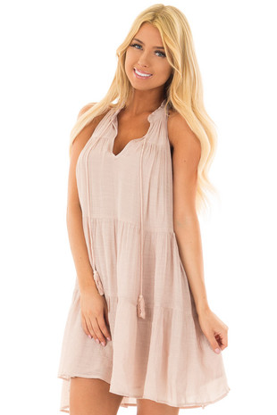 Dusty Blush Tiered Flowy Dress with Tie Detail front closeup