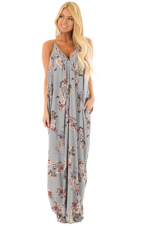 Vintage Sage Floral Maxi Dress with Hidden Pockets front full body