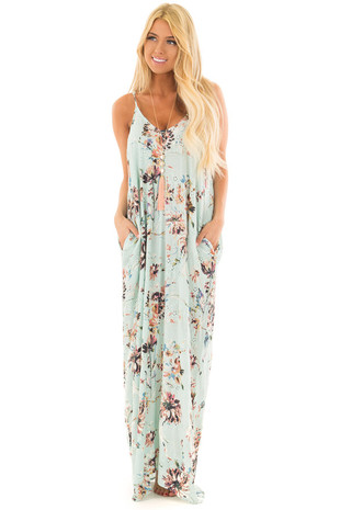 Mint Floral Print Cocoon Maxi Dress front full body