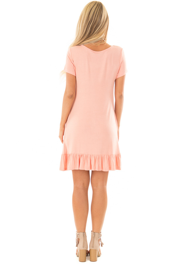 Peach Short Sleeve Tunic with Ruffle Hem back full body