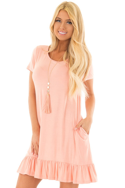 Peach Short Sleeve Tunic with Ruffle Hem front closeup