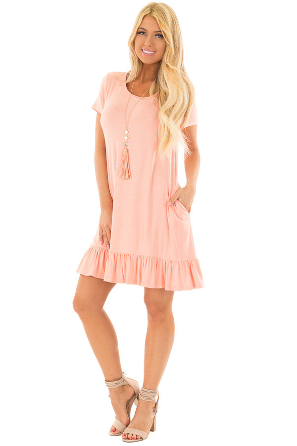 Peach Short Sleeve Tunic with Ruffle Hem front full body