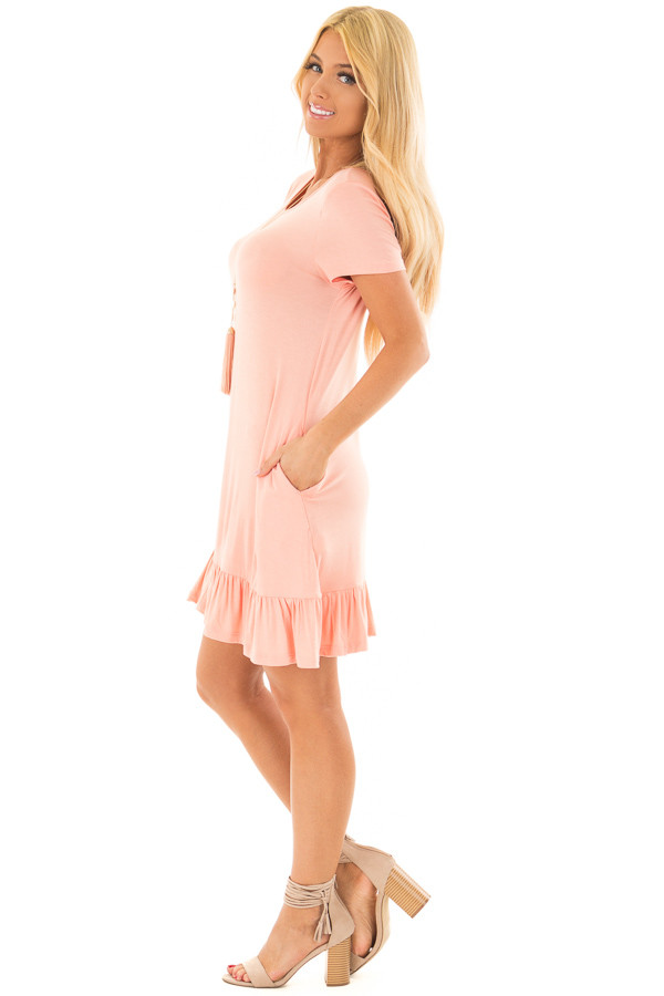 Peach Short Sleeve Tunic with Ruffle Hem side full body
