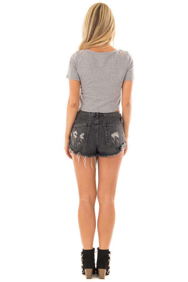 Heather Grey 'California Love' Crop Top with Front Knot back full body