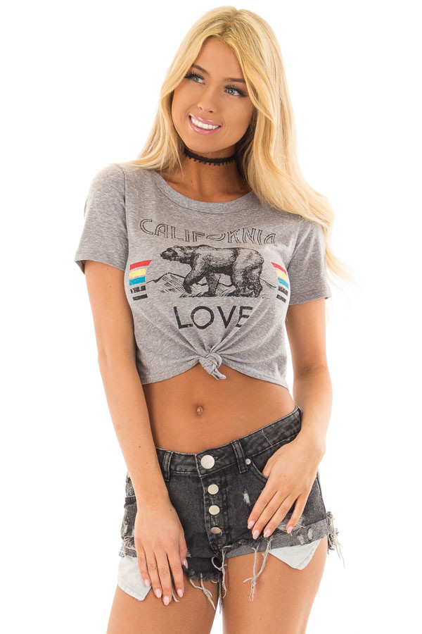Heather Grey 'California Love' Crop Top with Front Knot front closeup