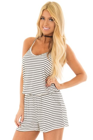 Black and Ivory Striped V Neck Romper with Side Pockets front closeup