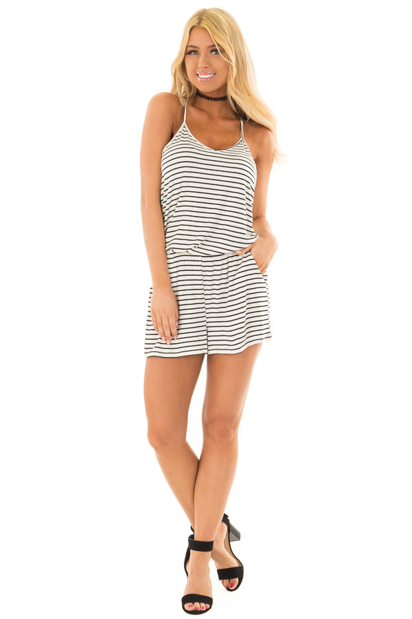 Black and Ivory Striped V Neck Romper with Side Pockets front full body