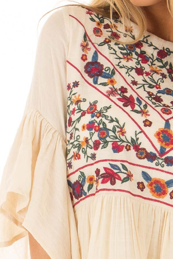 Cream Dress with Floral Embroidered Yoke and 3/4 Bell Sleeve detail