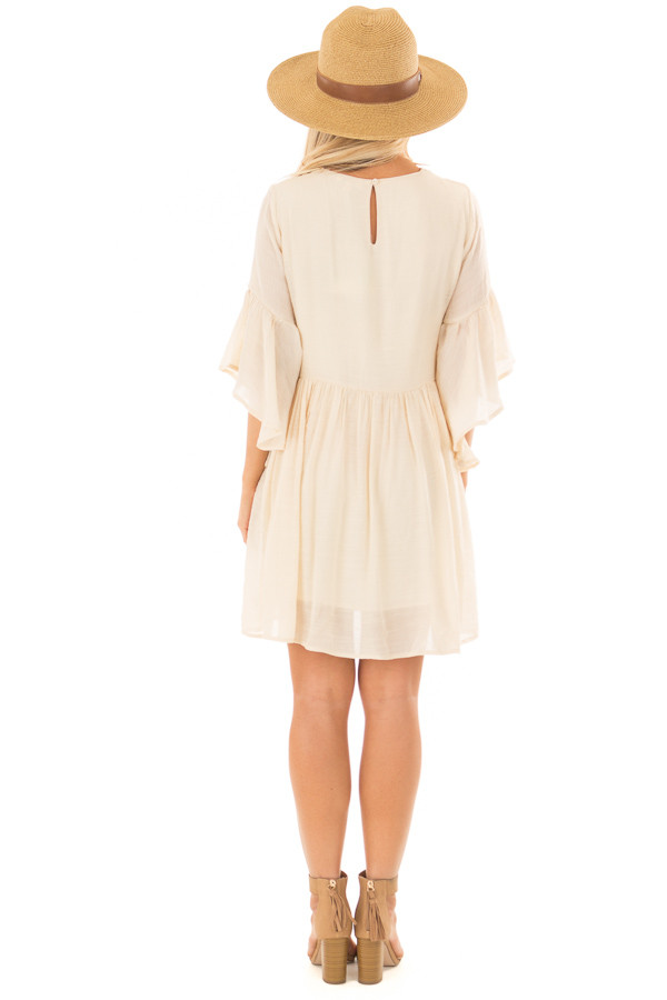 Cream Dress with Floral Embroidered Yoke and 3/4 Bell Sleeve back full body