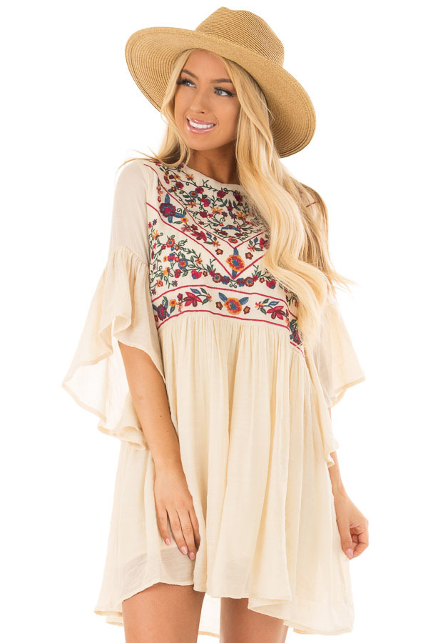 Cream Dress with Floral Embroidered Yoke and 3/4 Bell Sleeve front close up