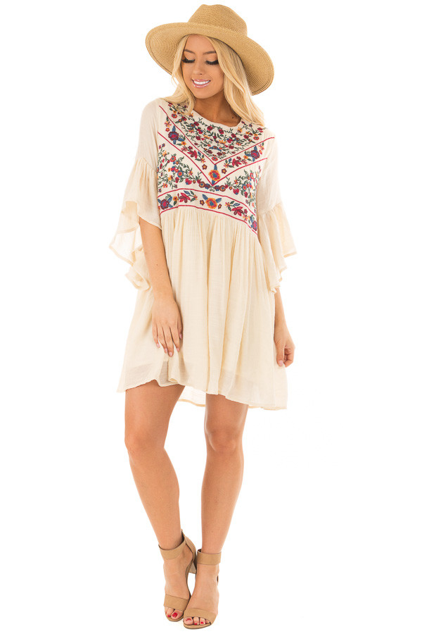 Cream Dress with Floral Embroidered Yoke and 3/4 Bell Sleeve front full body