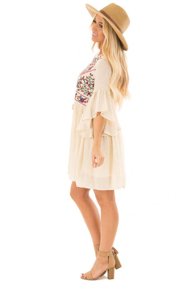 Cream Dress with Floral Embroidered Yoke and 3/4 Bell Sleeve side full body